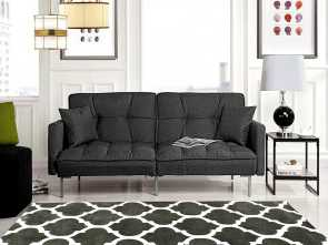 Divano Roma Furniture Modern Plush Tufted Linen Futon, A Buon Mercato Divano Roma Furniture Collection, Modern Plush