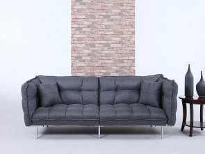 divano roma futon Divano Roma Furniture Collection, Modern Plush Tufted Linen Fabric Splitback Living Room Sleeper Futon (Dark Grey) Bella 5 Divano Roma Futon