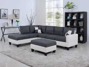 Divano Sofa Factory, Minimalista Amazon.Com: Classic, Tone Large Linen Fabric, Bonded Leather Living Room Sectional Sofa (White/Dark Grey): Kitchen & Dining