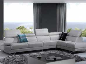 Divano Sofa Italia, Bella Divani Casa Quebec Modern Light Grey Italian Leather Sectional Sofa