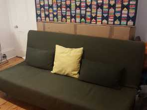 Ikea 3 Seater Futon Sofa Bed, Completare IKEA Beddinge 3-Seater Futon Sofa, With Upgraded Mattress, Cover, Excellent Condition