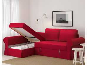 Ikea Kanapa Backabro, Bella BACKABRO Sofa, With Chaise Longue Nordvalla Red