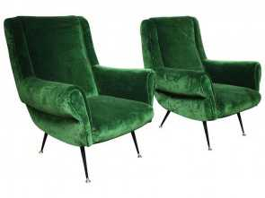 Poltrone Vintage Shop Online, Amabile Pair Of Vintage Italian Green Velvet Chairs 1, Emerald/Kelly
