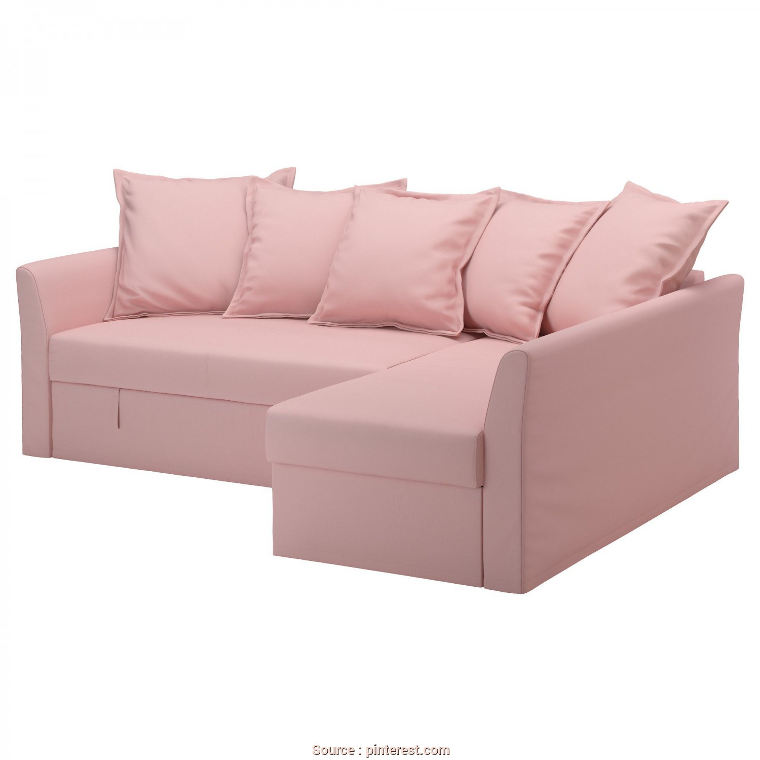 Vilasund Ikea Test, Minimalista IKEA, HOLMSUND, Sofa, With Chaise, Ransta Light Pink, , Cover Made Of Durable Cotton With A Fine, Smooth Texture.Storage Space Under, Chaise
