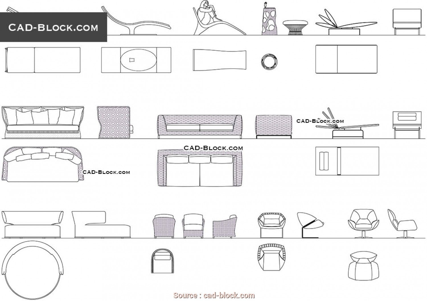 Chaise Longue, 2D, Esclusivo Chaise Lounge, Blocks, Free AutoCAD Drawings Download