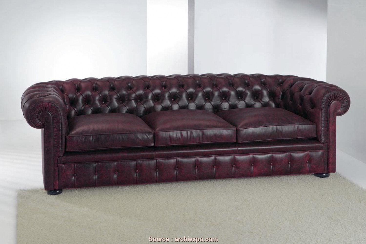 Divano Chester Crazy, Deale Chesterfield Sofa / Leather / 3-Seater / Violet, CHESTERFIELD CLASSIC