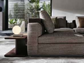 """Divani Molteni Cremnago, Modesto The Tailoring Is Exasperated,, Frames, All """"Marked"""" By These Double Seams That Exalt, Forms;, Back Cushion, Conceived As A Quilted Blanket Lying"""